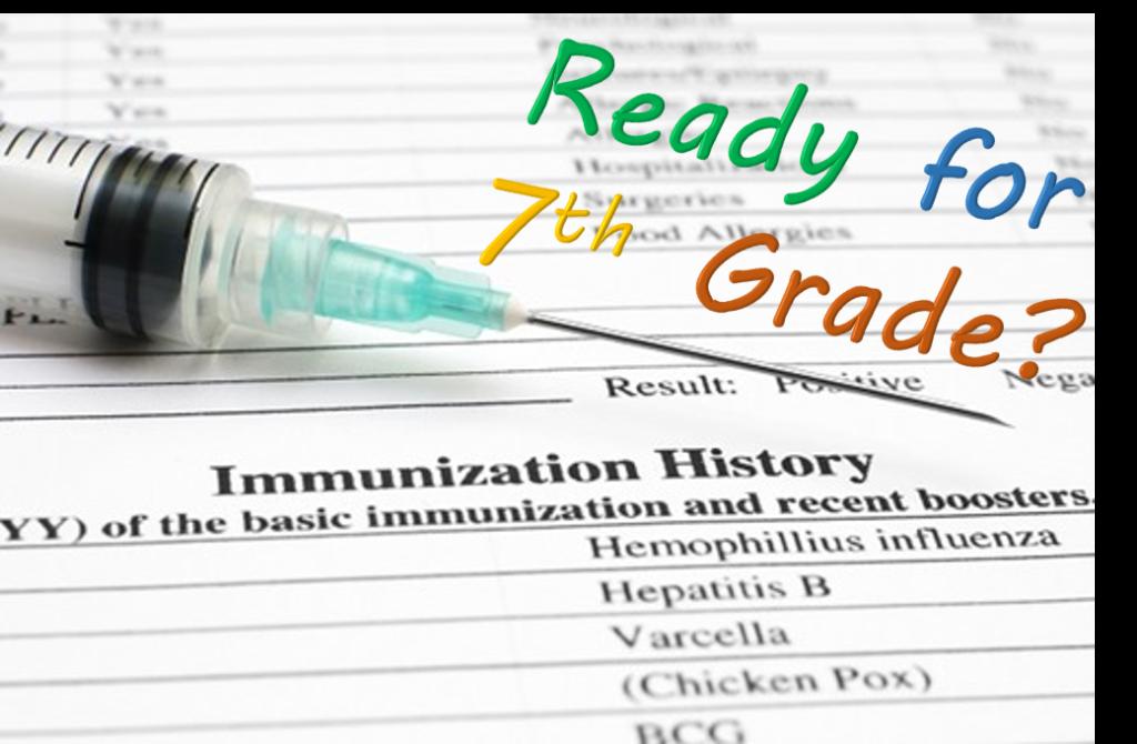 7th grade vaccination, shot, and shot record
