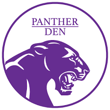 purple panther, text: Panther Den