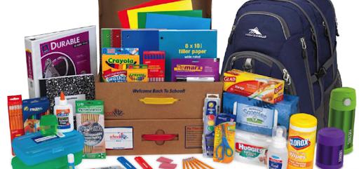 School Supply display, including backpack, folders, markers, notebooks, scissors, glue, wipes.