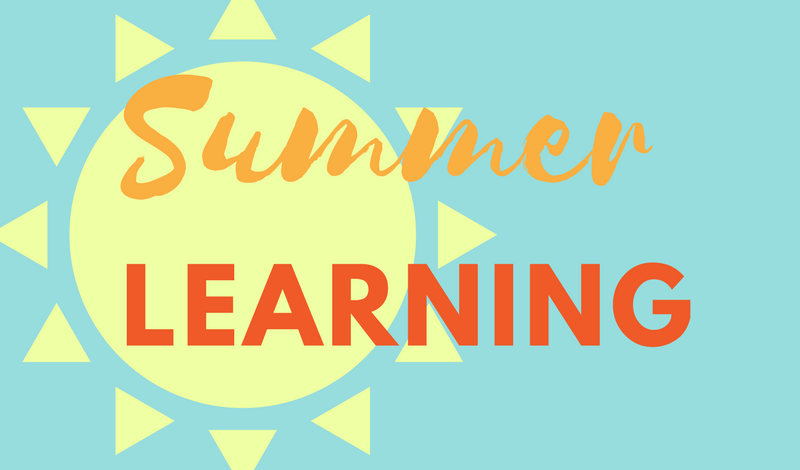 Bright sun, with text: Summer Learning